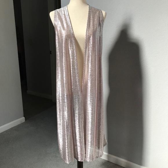 LuLaRoe Elegant Joy Silver Rose Gold Metallic Pink